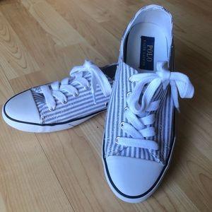 EUC Ralph Lauren blue and white canvas shoes Sz7